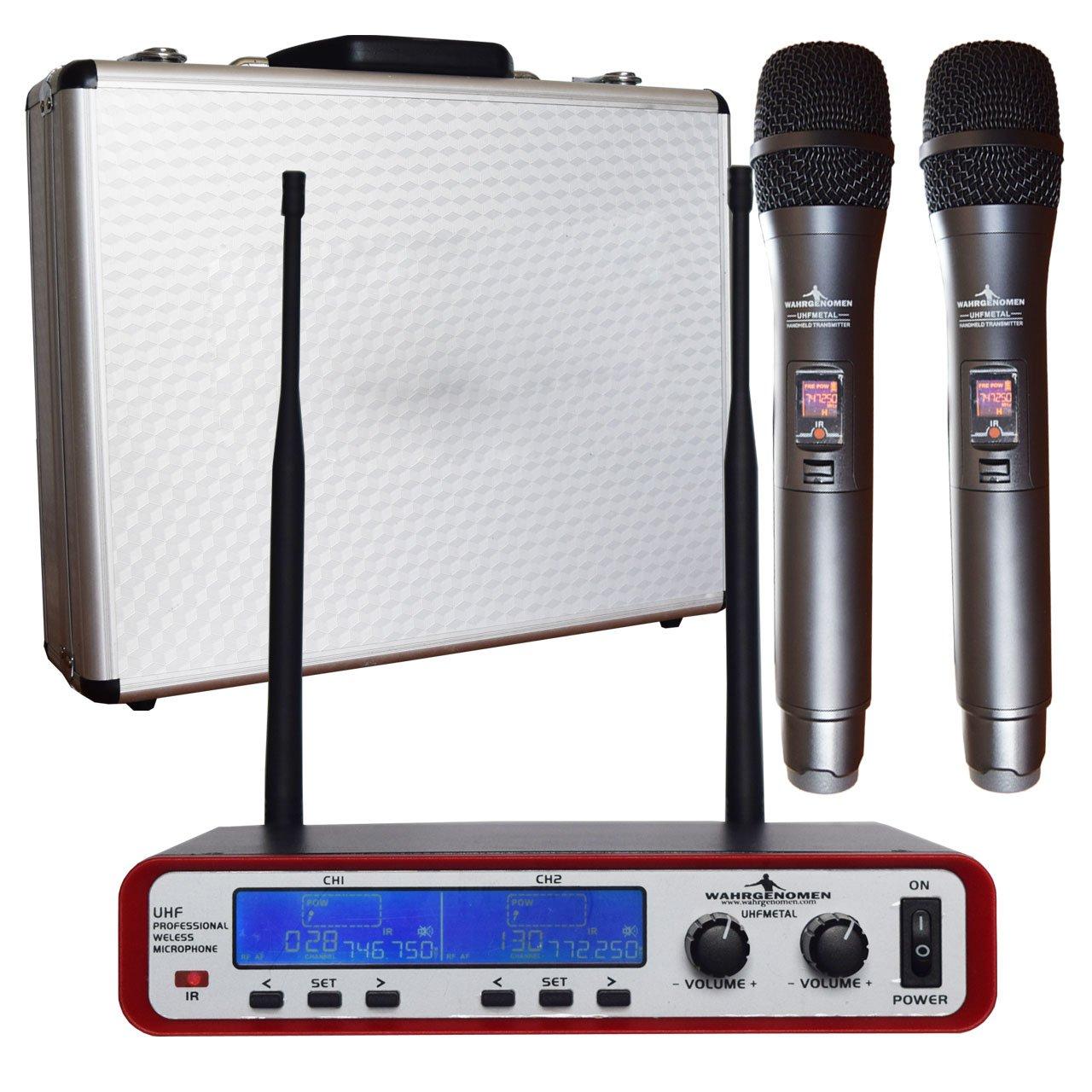 UHFMETAL Micrófonos Inalámbricos UHF set dual IR con cable y estuche logo