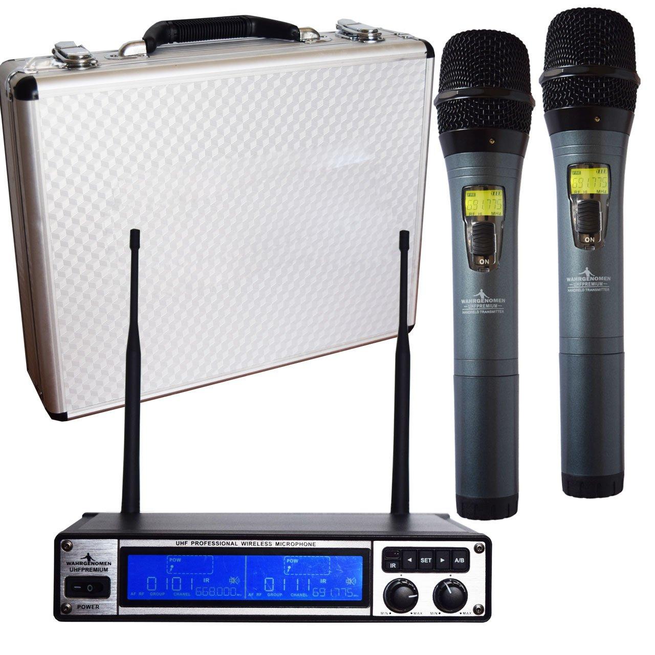 UHFPREMIUM Micrófonos Inalámbricos UHF set dual IR con cable y estuche case receptor case logo