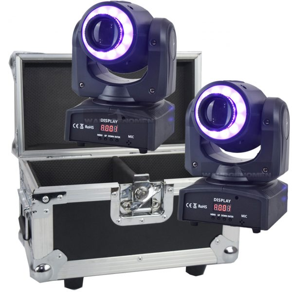 C2SPOTGCRING Set de 2 Cabeza móvil led SPOT con Aro led smart y case